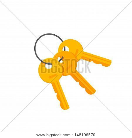 Door or padlock keys on key ring vector illustration isolated on white background, bunch of golden keys on keyring flat cartoon style