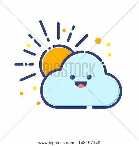 Vector stock of cloud and sun colorful flat icon