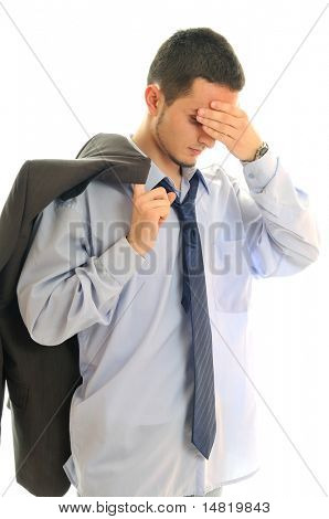 business man isolated on white with problem hanging on tie and representing concept of bankrupcy