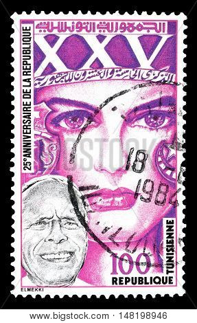TUNISIA - CIRCA 1982 : Cancelled postage stamp printed by Tunisia, that shows President Bourguiba and woman.