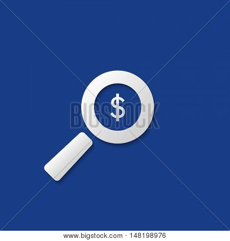 Business Analysis, Audit Icon, Financial Findings Symbol with Dollar Sign and Magnifying Glass