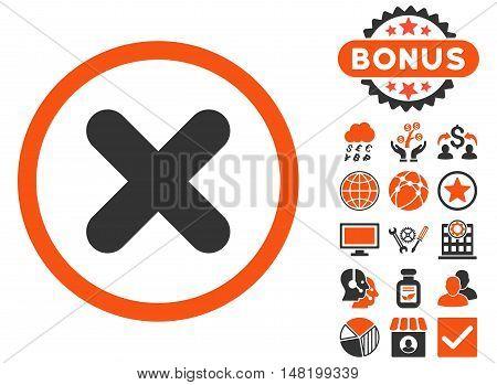 Cancel icon with bonus pictogram. Vector illustration style is flat iconic bicolor symbols, orange and gray colors, white background.