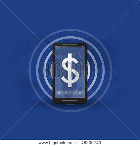 Online Payment or Earnings Concept, Message Indicator with Dollar Sign Appearing in the Screen of a Mobile Device