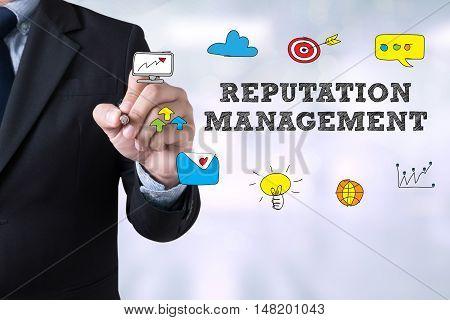 REPUTATION MANAGEMENT CONCEPT businessman working businessman working