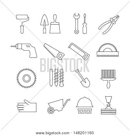 Thin line construction tools, home repair vector icons, toolkit symbols. Trowel and saw, helmet and drill, roller and wheelbarrow in linear style illustration