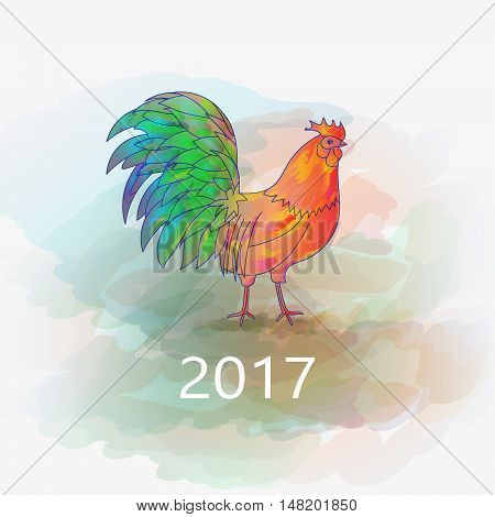 100 Vector. Chinese New Year of the Rooster. Graphic imitation of watercolor painting. Rooster Chinese Painting. New Year card. 2017 New Year card.