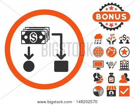 Cashflow icon with bonus pictures. Vector illustration style is flat iconic bicolor symbols, orange and gray colors, white background.