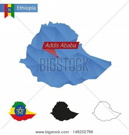 Ethiopia Blue Low Poly Map With Capital Addis Ababa.