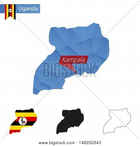 Uganda Blue Low Poly Map With Capital Kampala.