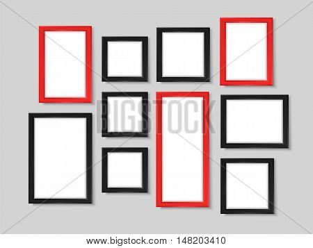 Picture frames. Realistic wall photo gallery vector illustration. Photoframes mockup. Empty simple vector frames for your illustrations drawings posters or photos.
