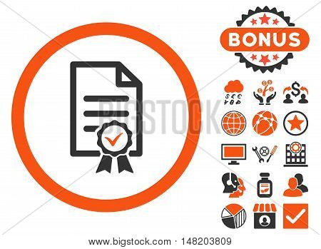 Certified icon with bonus pictures. Vector illustration style is flat iconic bicolor symbols, orange and gray colors, white background.
