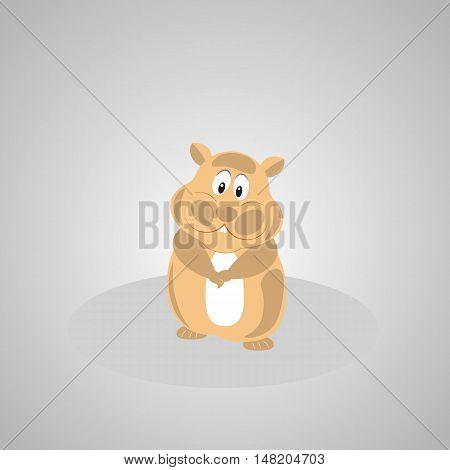 Cute hamster cartoon. Cheerful hamster standing on grass.