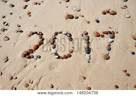 Number Of Wet Stones 2017 On Sand Beach