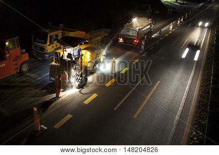Wallau, Germany - September 16, 2016: High angle view of construction site on German highway A66 at night - long exposure