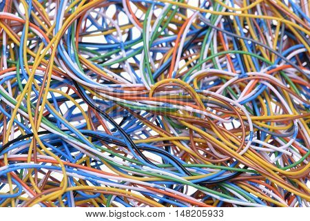 Abstract computer network cables and wires, information chaos