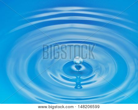 Drop hitting surface of water close-up