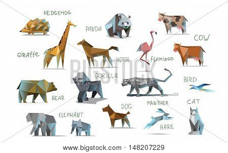 Vector set of different animals, polygonal icons, low poly illustration, cow, bear, dog, cat, elephant, giraffe, panther, flamingo, bird, hedgehog, gorilla, rabbit, horse, modern style, panda, isolated on white background
