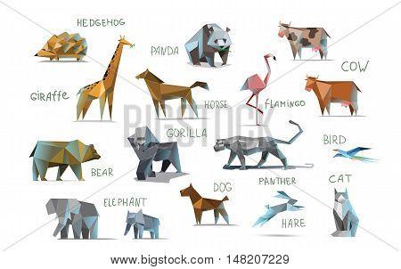 Vector set of different animals, polygonal icons, low poly illustration, cow, bear, dog, cat, elephant, giraffe, panther, flamingo, bird, hedgehog, gorilla, rabbit, horse, modern style, panda, isolated on white background