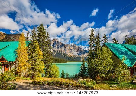 Yoho National Park, Canada. Camping at Lake Emerald. The concept of eco-tourism and adventure tourism