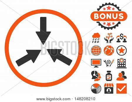 Collide Arrows icon with bonus elements. Vector illustration style is flat iconic bicolor symbols, orange and gray colors, white background.
