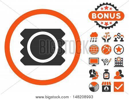 Condom icon with bonus elements. Vector illustration style is flat iconic bicolor symbols, orange and gray colors, white background.
