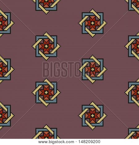 Desaturated earthen floral seamless stitching pattern on a brown background. Pixel art. Vector illustration