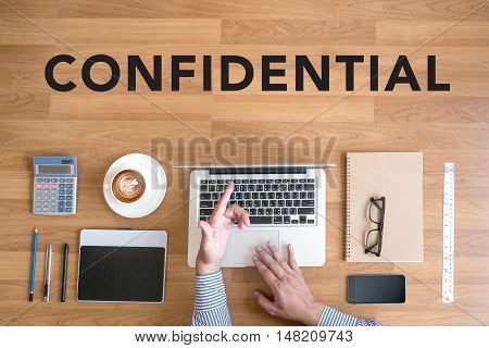 Businessman Working Confidential Concept