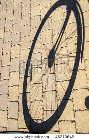 wheel detail of a bicycle in a street in Barcelona Spain