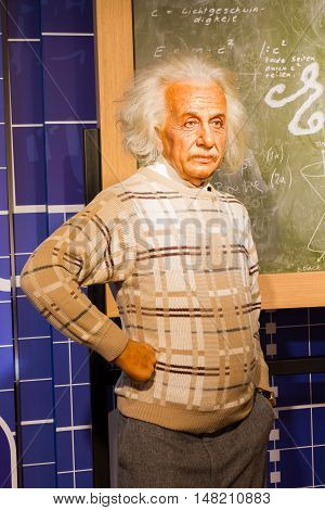 BANGKOK THAILAND - DECEMBER 19: Wax figure of the famous Albert Einstein from Madame Tussauds on December 19 2015 in Bangkok Thailand