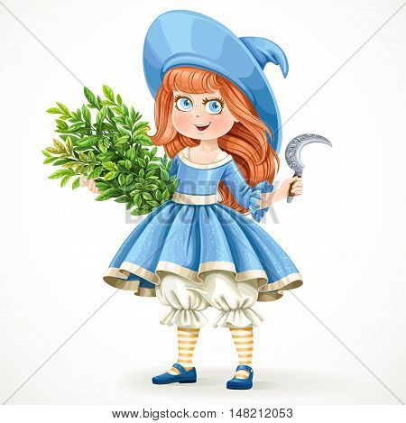 Cute little girl in witch costume holding an armful of herbs and sickle isolated on white background