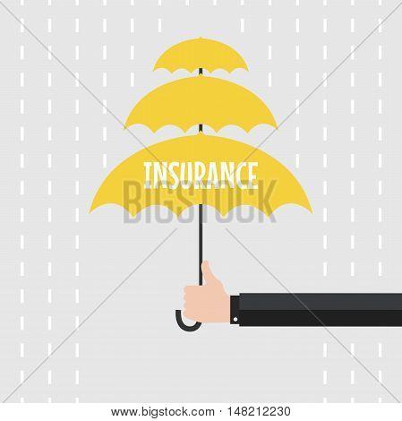Hand of man holding an umbrella in the rain. vector