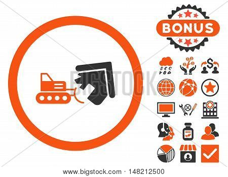 Demolition icon with bonus symbols. Vector illustration style is flat iconic bicolor symbols, orange and gray colors, white background.