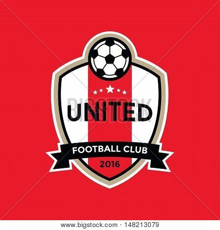 Red soccer football badge logo, vector illustration