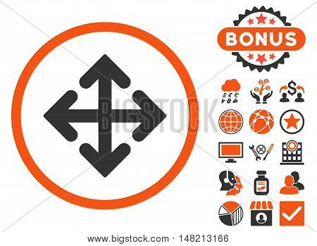 Direction Variants icon with bonus design elements. Vector illustration style is flat iconic bicolor symbols, orange and gray colors, white background.