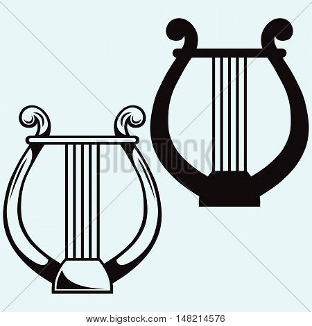 Lyre icon simple. Isolated on white background. Vector style