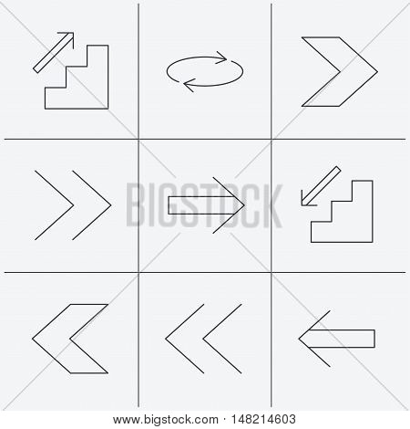 Arrows icons. Upstairs, downstairs and repeat linear signs. Next, back arrows flat line icons. Linear icons on white background. Vector