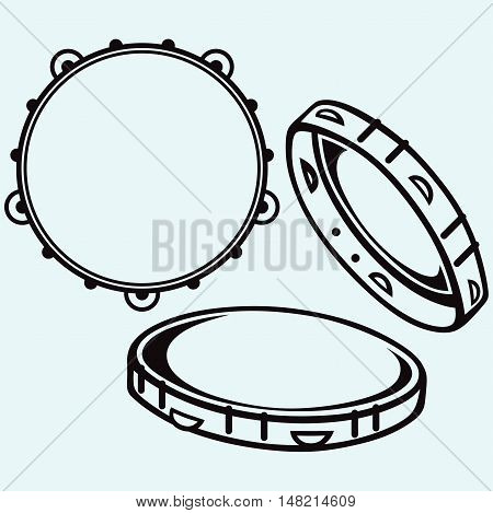 Tambourine with nobody holding. Isolated on white background. Vector style