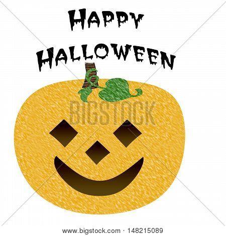 smiling orange jack-o-lantern on white illustration Halloween greetings