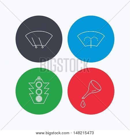 Motor oil change, traffic lights and wiper icons. Washing window, windscreen wiper linear signs. Linear icons on colored buttons. Flat web symbols. Vector