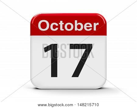 Calendar web button - The Seventeenth of October - International Day for the Eradication of Poverty three-dimensional rendering 3D illustration