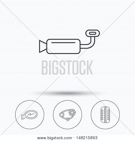 Tire tread, car mirror and timing belt icons. Muffler linear sign. Linear icons in circle buttons. Flat web symbols. Vector