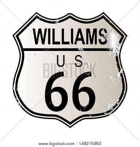 Williams Route 66 traffic sign over a white background and the legend ROUTE US 66