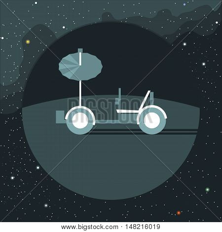 Digital vector with moon rover vehicle icon, over background with stars, flat style