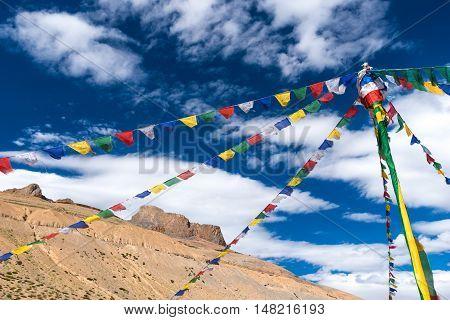 Buddhist prayer flags with blue sky in Leh, Ladakh.