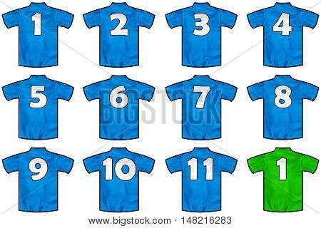 twelve Blue sport shirts as a soccerhockeybasketrugby baseball volley or football team tshirt. Like Italy national team