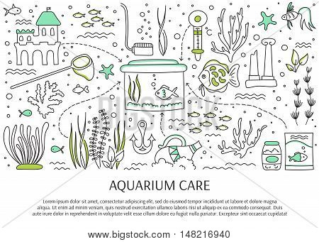 Aquarium care. Vector horizontal banner template. Fish and decoration, water tanks, plants and special equipment. For banners and posters, cards, brochures and souvenirs, invitations, website designs.