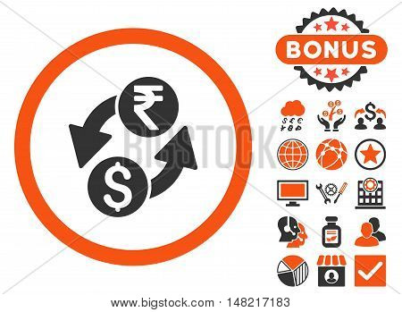 Dollar Rupee Exchange icon with bonus pictures. Vector illustration style is flat iconic bicolor symbols, orange and gray colors, white background.