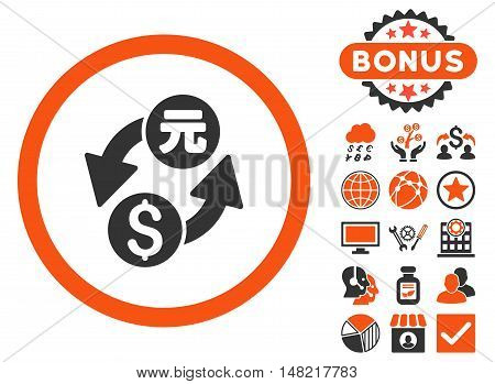 Dollar Yuan Exchange icon with bonus design elements. Vector illustration style is flat iconic bicolor symbols, orange and gray colors, white background.