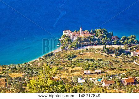 Church and beach in Bol aerial view island of Brac Dalmatia Croatia