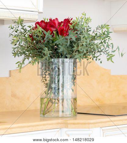 Beautiful Flower Arrangement In Clear Glass Vase